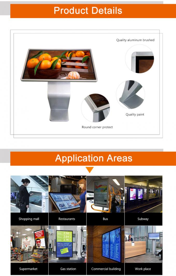 43 Inch FHD Interactive Touch Screen Table , Metal Frame Advertising Digital Signage