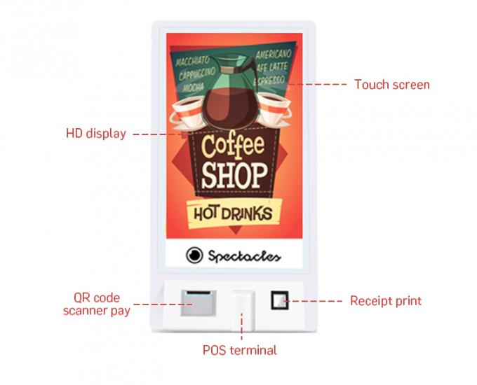 Fast Food Ordering Display Self Service POS QR-code Payment Kiosk Machine