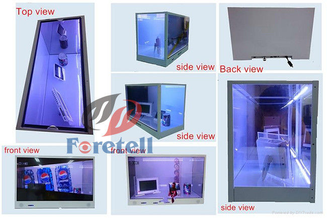 See Through Monitor Screen Transparent LCD Display Luxury Mirror Stainless Steel Materials